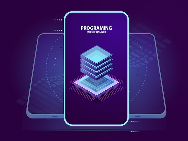 Mobile banner of development and programming of mobile application, server room isometric icon, data
