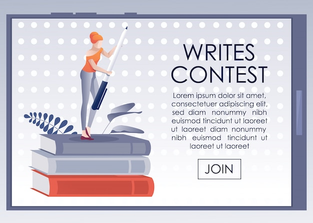 Mobile banner inviting join to writes contest