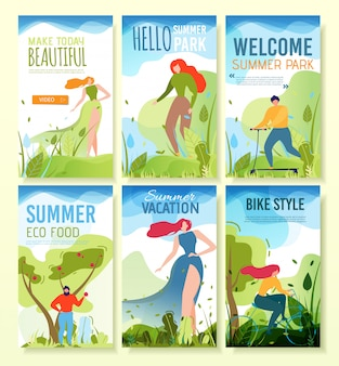Mobile banners with summer greeting, invitation.