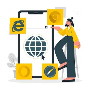 Illustrazione del concetto di browser mobile