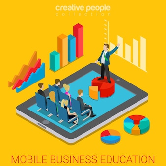 Mobile business education online course flat isometric Premium Vector