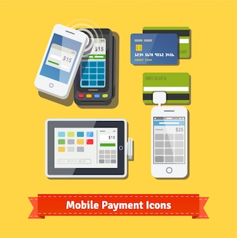 Mobile business payment flat icon set