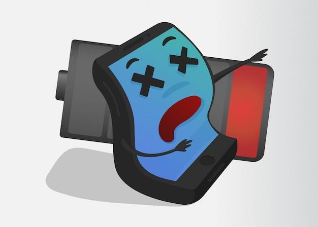 Mobile cartoon low battery.