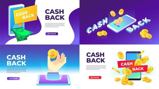 Mobile cashback banner. golden coins spend back, buying with cashback and reward to wallet illustration set.