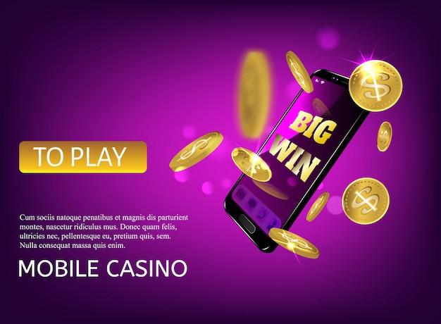 Premium Vector Mobile Casino Slot Game Flying Phone Marketing Background For Casino Jackpot Slots Machine