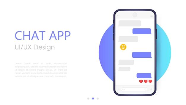 モバイルチャットアプリのモックアップ。 uxまたはuiデザイン。白い背景で隔離のスマートフォン。ソーシャルネットワークのデザインテンプレート