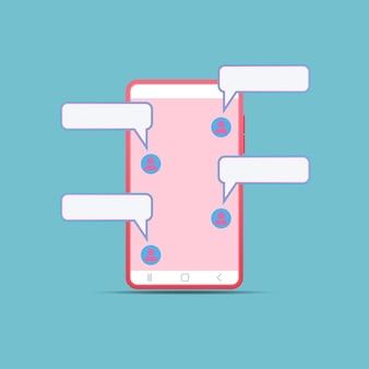 モバイルチャット。チャット通信用のスマートフォンアプリ。フレンドリーなメッセージング。ロマンチックなテキストメッセージ。ソーシャルオンライン。テキストは空のスピーチ。ベクトルイラストフラットスタイル