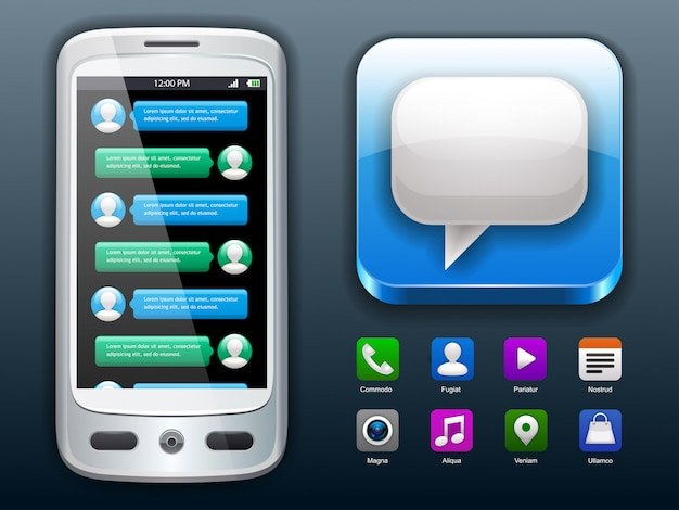 Mobile chat and social icons