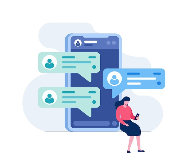 모바일 채팅 응용 프로그램입니다. 전화 개념 추상 평면 벡터 일러스트 배너 및 방문 페이지 여성