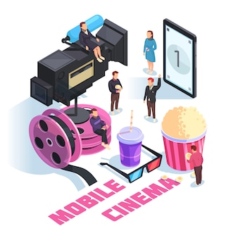 Mobile cinema isometric composition