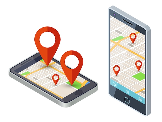 Mobile city map app on smartphone