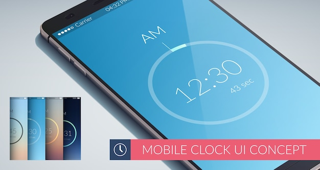 Mobile clock ui design concept with four colorfuls flat illustration