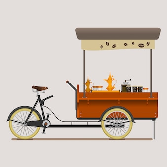 Mobile coffee bike shop with arabian brewing style