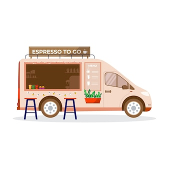 Mobile coffee shop, cafe on wheels in city park, street food festival concept banner.