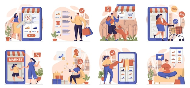 Mobile commerce collection of scenes isolated people make purchases and pay for orders in apps