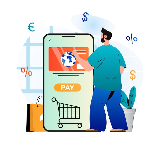 Mobile commerce concept in modern flat design man buys products in online store and pays