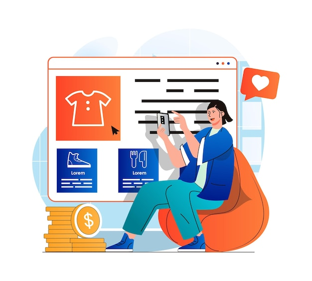 Mobile commerce concept in modern flat design woman chooses clothing on web site of store