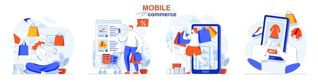 Mobile commerce concept set buyers make purchases in app smart online shopping