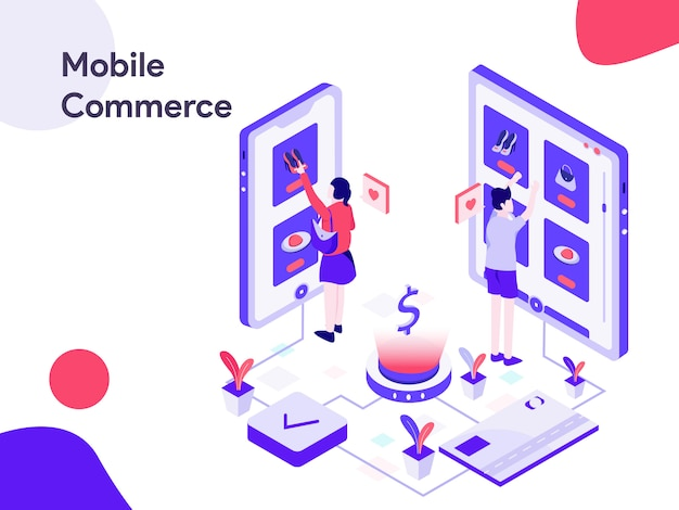 Mobile commerce isometric illustration