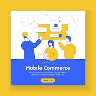 モバイルコマースの正方形のバナーテンプレート。スマートフォンを使ってオンラインショップで商品を注文しながら電話をかける男女。フラットスタイルのイラスト、細い線画のデザイン