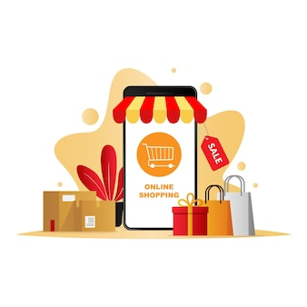 Mobile commerce vector concept mobile phone online shopping