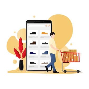 Концепция вектора мобильной коммерции с человеком с тележкой, полной товаров для покупок