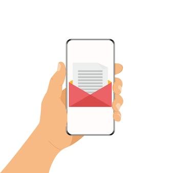 モバイル通信の概念。人間の手の電話。