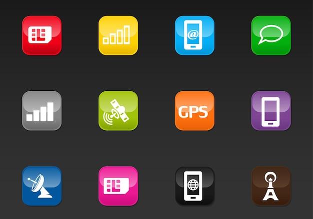 ユーザーインターフェイスデザインのモバイル接続ベクトルアイコン