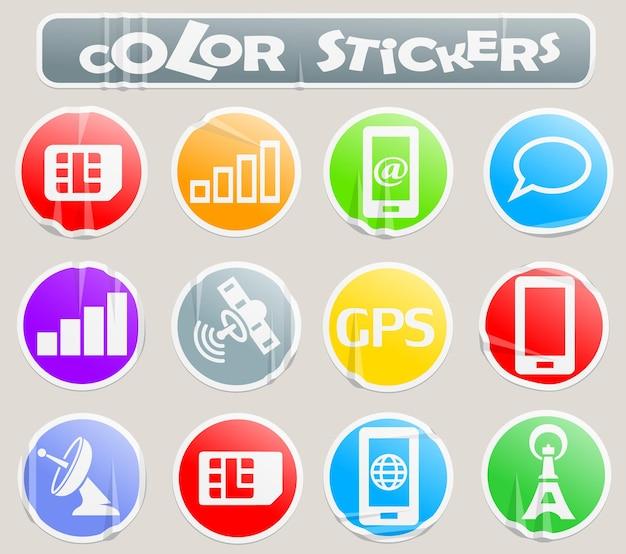 Мобильные векторные веб-символы подключения на бумажной наклейке для вашего дизайна