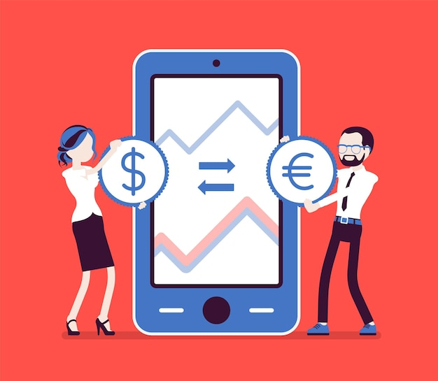 モバイル外貨両替、ドルとユーロのペア。コイン、モバイルデバイス用のアプリで巨大な電話画面で男性、女性。経済学とビジネスファイナンスの概念。ベクトルイラスト、顔のない文字