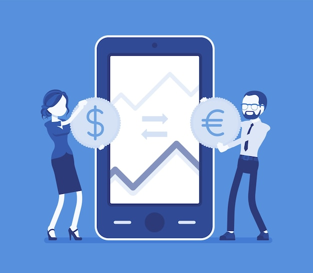 Mobile currency exchange, dollar and euro pair. man, woman at giant phone screen with coins, apps for mobile devices. economics and business finance concept. vector illustration, faceless characters Premium Vector