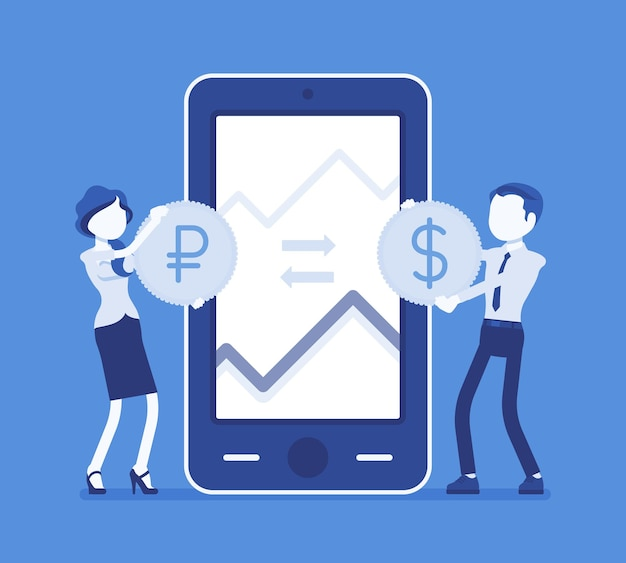 Mobile currency exchange, dollar and ruble pair. man, woman at giant phone screen with coins, apps for mobile devices. economics and business finance concept. vector illustration, faceless characters