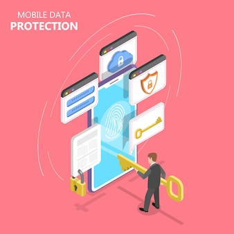 Mobile data protection isometric flat illustration.