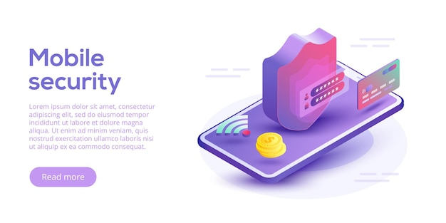 モバイルデータセキュリティアイソメトリック。スマートフォンとクレジットカードによるオンライン決済保護システムのコンセプト。