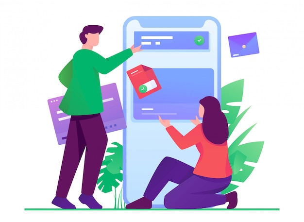 Мобильный разработчик плоской иллюстрации менеджер