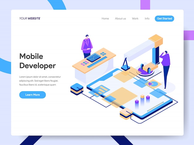 Mobile developer isometric illustration for website page
