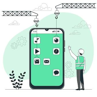 モバイル開発コンセプトイラスト