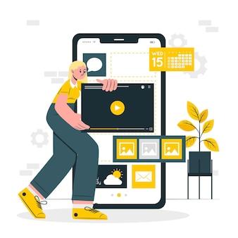 Иллюстрация концепции мобильной разработки