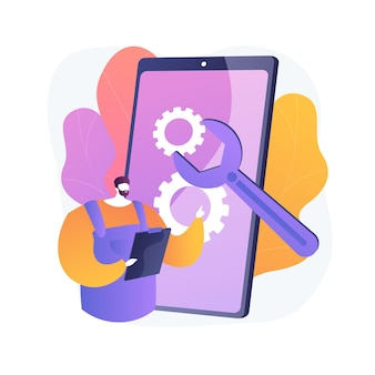 Mobile device repair abstract concept illustration