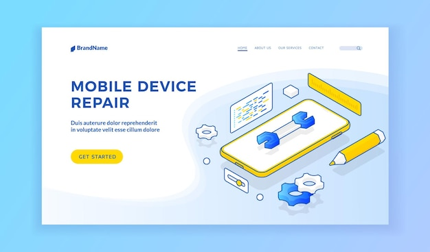 Mobile device repair. landing page template. smartphone with spanner on advertisement banner for modern cellphone repair service. isometric web banner