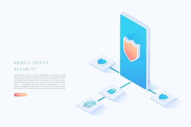 Mobile device security in flat isometric vector illustration scan fingerprint and identification system vector illustration