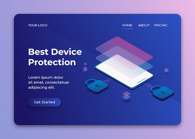 Mobile device security protection isometric illustration with padlock