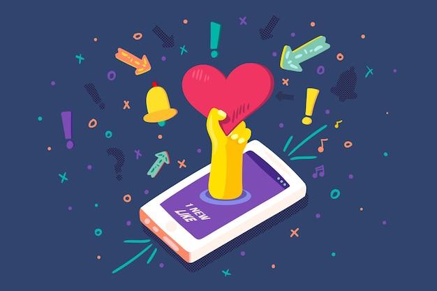 Mobile device social media like notice vector. heart emoji on smartphone digital screen and bell app, user technology. cellphone electronic internet application notification flat cartoon illustration