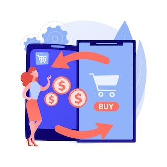 모바일 장치 보상 판매 추상적 인 개념 그림