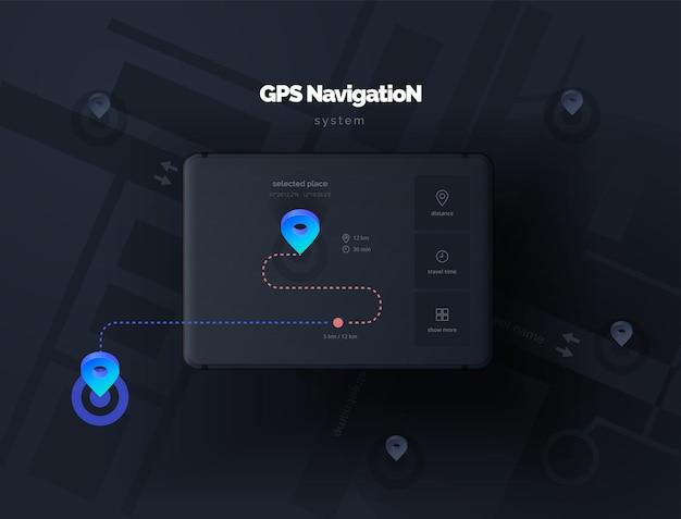 Orient gps 내비게이션 시스템 용 레이아웃 앱이있는 모바일 장치