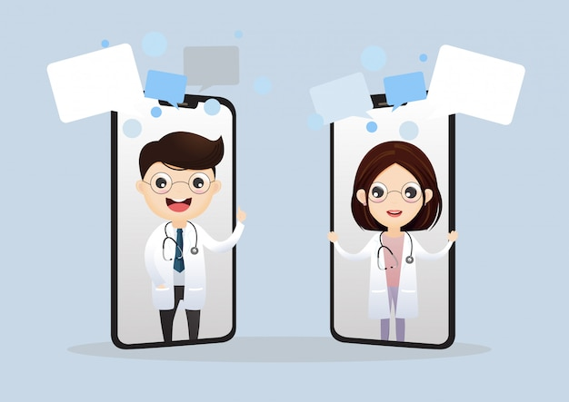 モバイルドクター。電話の画面に笑みを浮かべて医師。医療インターネット相談。ヘルスケアコンサルティングwebサービス。オンラインの病院支援。ベクトル、イラスト。