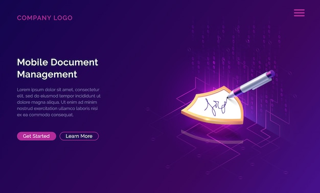 Mobile document manager or e-signature website template