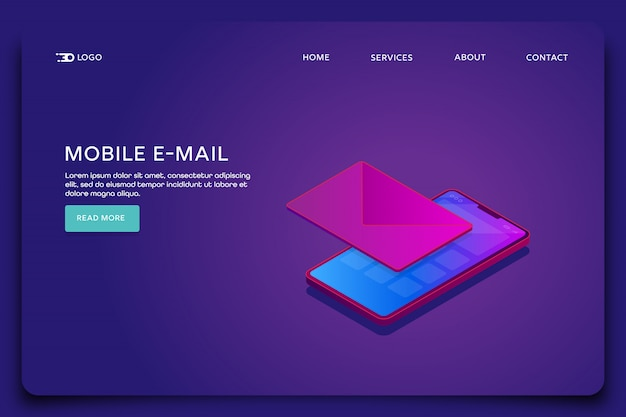 Mobile e-mail landing page template