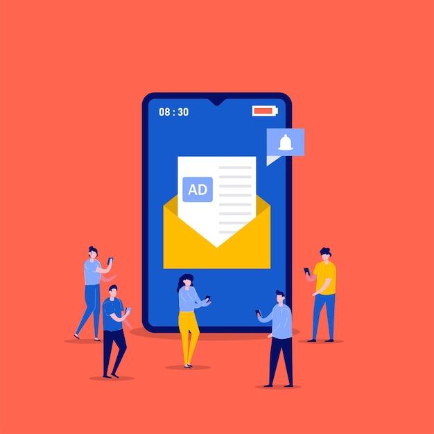 携帯メールマーケティング、ニュースレタープロモーション、広告キャンペーン、キャラクターによるデジタルプロモーションのコンセプト。 adメッセージを送信する人々。