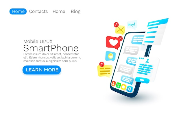 Mobile email message chat internet web site banner design vector
